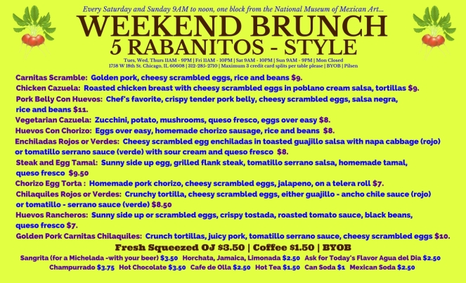 5 rabanitos mexican lunch dinner vegetarian vegan dessert restaurant chicago pilsen alfonso sotelo chef rick bayless menu 2017 mexican fine arts museum national weekend brunch mexican breakfast